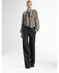 Gucci - Gray Optical-print Silk Blouse - Lyst