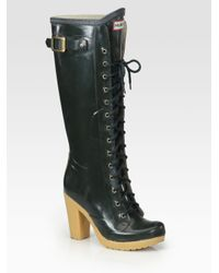 hunter labins laceup high heel rain boots in black  lyst