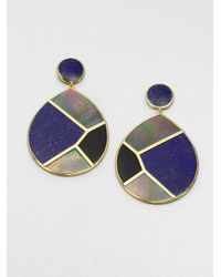 Ippolita | Blue Lapis Black Onyx Black Shell and 18k Yellow Gold Drop Earrings | Lyst