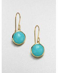 Ippolita | Blue Lollipop Turquoise & 18k Yellow Gold Mini Drop Earrings | Lyst