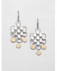 John Hardy - Metallic Dot 18k Yellow Gold & Sterling Silver Diagonal Square Drop Earrings - Lyst