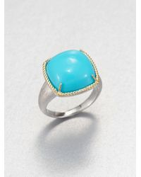 Jude Frances - Blue Turquoise Cushion Cut Ring - Lyst
