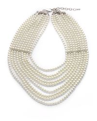 Kenneth Jay Lane - Natural Multistrand Faux Pearl Bib Necklace - Lyst