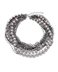 Kenneth Jay Lane | Metallic Mixedmedia Multistrand Necklace | Lyst