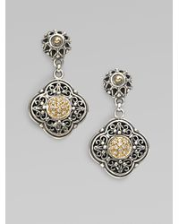 Konstantino - Metallic Sterling Silver 18k Gold Clover Drop Earrings - Lyst
