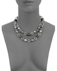 Majorica - Gray 10mm12mm Grey Nuage Tahitian Round Pearl Sterling Silver Necklace - Lyst