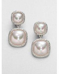 Majorica | Metallic 10mm White Pearl Drop Earrings | Lyst