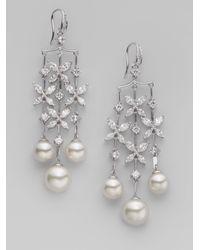 Majorica | Metallic 10mm 12mm White Round Pearl Butterfly Chandelier Earrings | Lyst