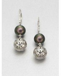 Majorica - Metallic 12mm Tahitian Pearl Drop Earrings - Lyst