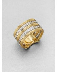 Marco Bicego | Metallic Diamond Accented 18k Gold Banded Ring | Lyst