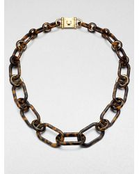 Michael Kors - Brown Tortoise Pattern Chain Link Necklace - Lyst
