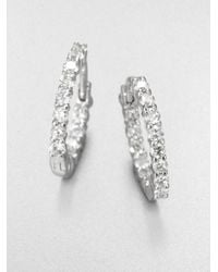 Roberto Coin | Diamond & 18k White Gold Hoop Earrings/1.5 | Lyst