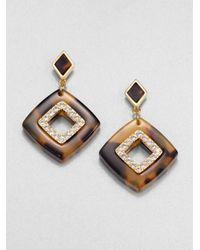 Tory Burch - Brown Mccoy Crystal Resin Drop Earrings - Lyst