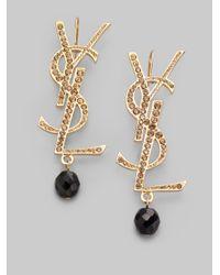 Saint Laurent - Black Glitter Logo Earrings - Lyst