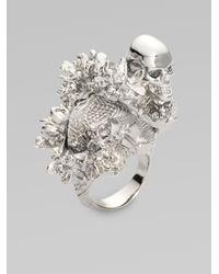 Alexander McQueen - Metallic Koi Tail Cherry Blossom Ring - Lyst