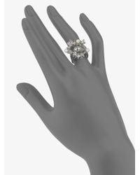 Alexander McQueen - Metallic Swarovski Crystal Accented Skull Wave Ring - Lyst
