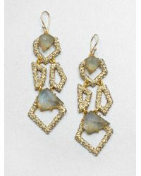 Alexis Bittar - Geometric Labradorite and White Quartz Earrings - Lyst
