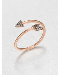 Diane Kordas | Metallic Brown Diamond & 18K Rose Gold Arrow Wrap Ring | Lyst