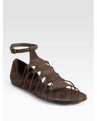 Elizabeth and James | Brown Suede Gladiator Flat Sandals | Lyst