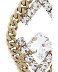 Elizabeth Cole - Metallic Double Triangle Goldplated Swarovski Crystal Earrings - Lyst
