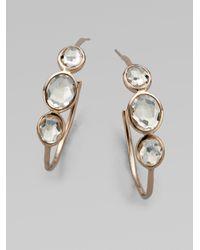 Ippolita | Metallic Rose Rock Candy Clear Quartz #3Three-Stone Hoop Earrings/1.5 | Lyst