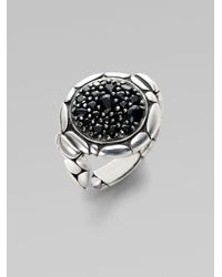 John Hardy | Metallic Black Sapphire Accented Sterling Silver Ring | Lyst