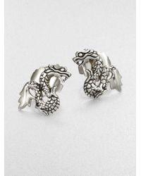 John Hardy | Metallic Sterling Silver Dragon Stud Earrings | Lyst