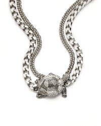 Judith Leiber - Gray Swarovski Crystal Turtle Necklace - Lyst