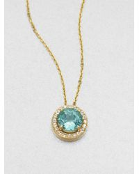 KALAN by Suzanne Kalan | Blue Apatite, White Sapphire & 14k Yellow Gold Round Pendant Necklace | Lyst
