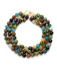 Kenneth Jay Lane | Three Strand Multicolored Agate Necklace | Lyst