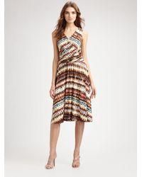 Lafayette 148 New York | Brown Tie-dye-print V-neck Dress | Lyst
