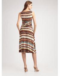 Lafayette 148 New York - Brown Tie-dye-print V-neck Dress - Lyst