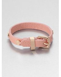 Marc By Marc Jacobs - Pink Studded Leather Bracelet - Lyst