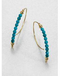 Mizuki | Blue 14k Gold Turquoise Half Hoop Earrings | Lyst