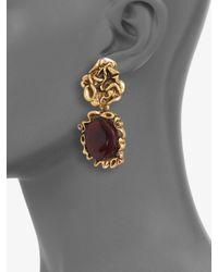 Oscar de la Renta - Purple Ruffle Clipon Drop Earring - Lyst