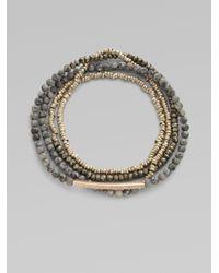 Sydney Evan - Gray Diamond Accented 14k Gold Bar Beaded Bracelet - Lyst