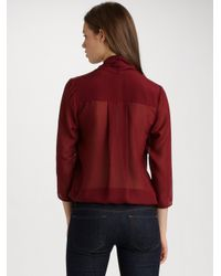Tibi - Red Silk Bodysuit - Lyst