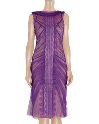 Alberta Ferretti - Purple Tulle and Lace Dress - Lyst