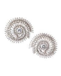 CZ by Kenneth Jay Lane - Metallic Swirl Cubic Zirconia Clip Earrings - Lyst