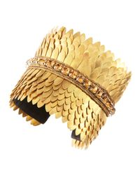 Deepa Gurnani | Metallic Golden Scalloped Cuff | Lyst