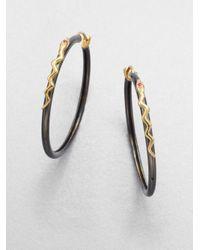 Elizabeth and James - Black Twotone Embellished Snake Hoop Earrings - Lyst