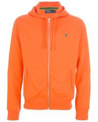 Polo Ralph Lauren - Orange Zip Fastening Hoodie for Men - Lyst