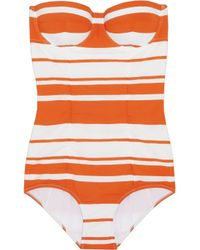 Dolce & Gabbana | Orange Striped Molded Swimsuit | Lyst