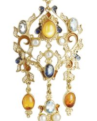 Percossi Papi | Metallic Gold-plated, Topaz And Seed Pearl Earrings | Lyst