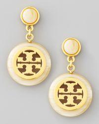 Tory Burch | Metallic Resin Framed Logo Drop Earrings | Lyst