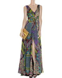 Matthew Williamson   Purple Printed Pleated Silkchiffon Gown   Lyst