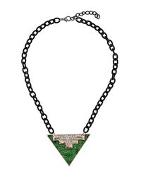 TOPSHOP | Green Layered Triangle Pendant | Lyst
