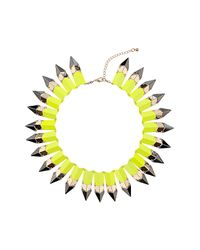 TOPSHOP - Yellow Lime Piano Key Necklace - Lyst