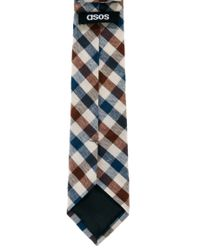 ASOS - Blue Gingham Tie for Men - Lyst