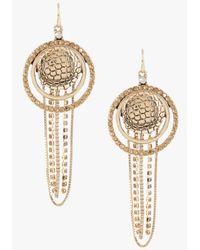 Bebe | Metallic Snake Print Disc Chain Earrings | Lyst